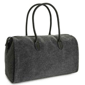 DSW Grey Felt Duffel Bag
